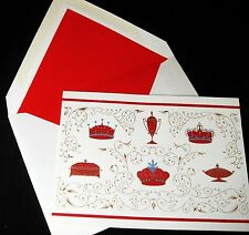 8 Cards w/ Envelopes Christmas Royal Crowns Gold Foil T.V. Allen Decoupage