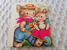 Vtg Easter Greeting Card Flocked Grandpa Bunnies Cart Unused envelope Gibson