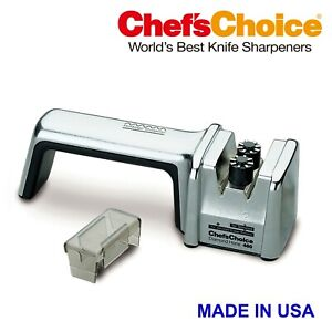 CHEFS CHOICE 460 KNIFE SHARPENER, DIAMOND HONE 2 Stage, Silver, Made In USA
