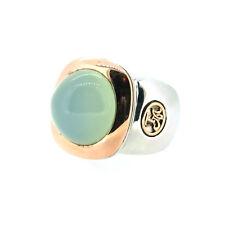 Tirisi Ring mit grünen Chalcedon-Cabochon 750 RG / 925 AG #55