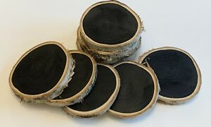 10 Rustic Natural Birch Wood Pre-Painted Chalkboard Slices/Rounds/Craft - 8-9cm