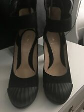 Fendi Womens Suede Platform High Heel Black Size 39