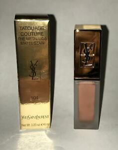 YSL TATOUAGE COUTURE METALLICS Matte Stain, 104 Rose Gold Riot, NIB