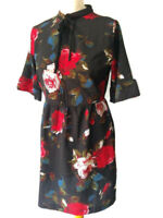 Young Bohemians ASOS 10 Black Red Frill Sleeve Rose Dress Pussy Bow High Neck