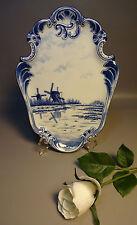 c1880 German Delft Wall Plaque Blue & White Flowblue w/Windmills Mint Condition