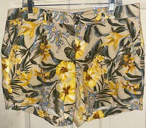 Old Navy Floral Print Everyday Linen Blend Shorts Sz. 14 NWT