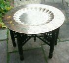 ANTIQUE INDIAN  CARVED FOLDING SIDE TABLE WITH  DISHED BRASS TRAY