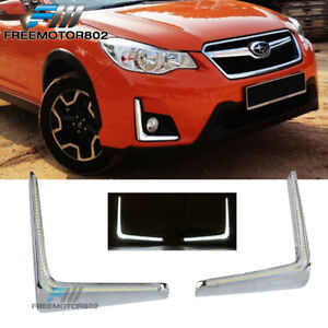 Fits 16-17 Subaru XV Crosstrek LED DRL White Daytime Running Driving Fog Lights