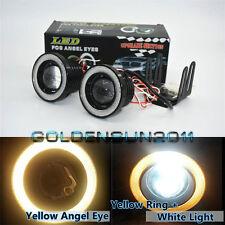 "2x High Power 3.0"" LED Fog Lights Projector With COB Yellow Halo Angel Eye Rings"