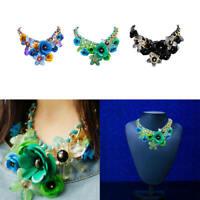 Chain Women Crystal Flower Statement Bib Big Chunky Necklace Collar Jewelry New