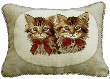 """11"""" x 15"""" Handmade Wool Needlepoint Petit Point Pillow with Pair of Brown Cats"""