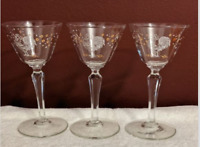 Mid Century LIBBEY Chanticleer Rooster Martini Cordial Glass Set of 3