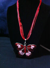 Butterfly Pendant w/Red & Pink inlay and rhinestones/Red organza Ribbon & Cord