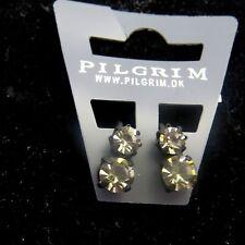 Pilgrim Jewelry Slate Gray Black Crystal Clip On Earrings: 234113 A