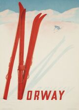 VINTAGE SKI posters Norvège Wintersports, 1957, art déco voyage A3 Imprimer