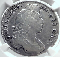 1697 GREAT BRITAIN UK King William III Antique Silver Half Crown Coin NGC i81752