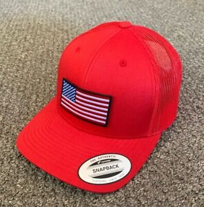 US American Flag Hat SnapBack Trucker Stars Mesh Cap Handcrafted in the USA!
