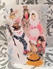 Vintage Christmas Holidays Snowman Family Card UNUSED Mid Century New Envelope