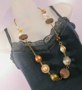 Womens long Necklace mixed beads wood plastic mother of pearl costume Jewellery