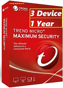 Trend Micro Antivirus Maximum Security Internet 2021 New (3 Devices for 1-Year)