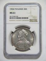 PANAMA 1904 50 CENTESIMOS DE BALBOA NGC GRADED MS61 SILVER WORLD COIN 🌈⭐🌈