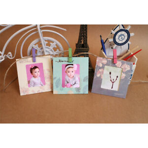 8pcs DIY Hanging Album Kraft Paper Photo Frame With Clips And Rope String