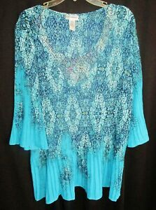 CATHERINES 2X - CHIC STUDDED BAROQUE PATTERN BOAT NECK PULLOVER TUNIC TOP NWOT