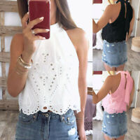 Womens Sleeveless Vest Tank Tops Summer Halter Neck Cami Blouse Loose T Shirt US