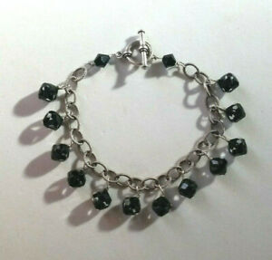 """Sterling Silver Bracelet Black Crystal Charm Rolo Chain Toggle 7.5"""" 16g 925 #645"""
