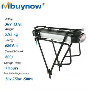 E-bike Battery 36V 13A Electric Li-ion Pack Lockable with Rear Rack & 2A Charger