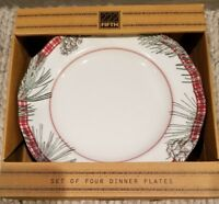 222 Fifth Mount Holly Green Dinner Plates Set Of 4  Red Plaid Pinecone Christmas