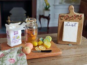 Dollhouse Miniature Artisan Cutting Board Lemons and Notepad 1:12