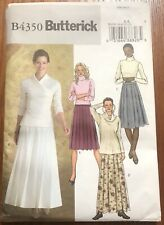 "Butterick Sewing Pattern 4350 Misses' PLEATED SKIRT Sz 6-12 Waist 23""-26½"" Uncut"