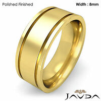 8mm Men Wedding Solid Band Flat Fit Plain High Polish Ring 14k Yellow Gold 11.4g