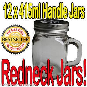 12 x 415ml Ball Mason Handle Beer Moonshine Redneck Jars Drinking Lids