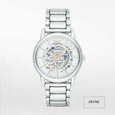 EMPORIO ARMANI Luigi Skeleton Meccanico Silver Men's Watch AR1980