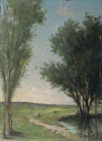 Peinture Tableau Ancien Huile signé MARTINET - Paysage, Arbre, Personnages