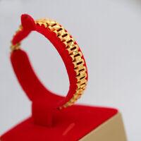 Chunky Link Chain Bracelet Men's 18K Gold Plated Cuff Bangle Wristband Jewelry
