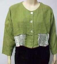 SARAH SANTOS SIZE XL,100% LINEN, PALE GREEN SHORT EMBELLISHED JACKET,ITALIAN.