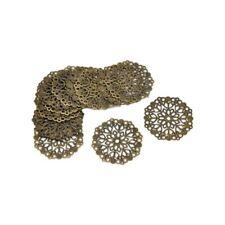 50 Bronze Tone Filigree Flower Wraps Connectors 35mm J6C2