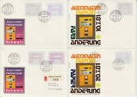 Schweiz ATM - 4 Briefe mit Papier-, Farbänderungen, Ausgabe 1981 - bitte ansehen