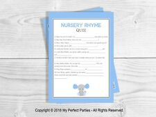 Baby Shower Game, garçon, bébé garçon, éléphant, bleu, Nursery Rhyme Quiz.
