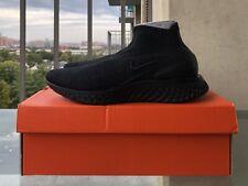New Nike Rise React Flyknit Running Shoes Men's Size 11 Triple Black AV5554-003