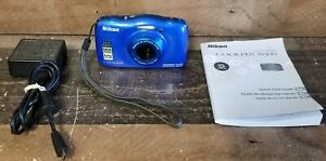 ⚡️Nikon COOLPIX W100 Digital Camera Blue WaterProof ShockProof WiFi