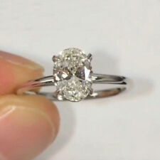 1.41 Ct Solitaire Oval Cut Moissanite Engagement Ring 14K White Gold FInish