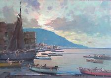 "Fontana03 - "" Marina al tramonto"".Olio su tavola  del pittore Fortunato Fontana"