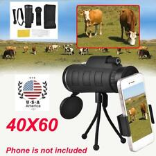40X60 Zoom Optical Lens Monocular Telescope + Tripod +Clip for Cell Phone w/ Bag