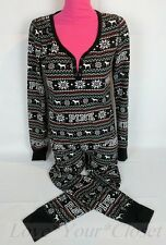M Victoria's Secret Pink Fair Isle Thermal Long Jane Onesie Pajama Black gerber