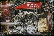 12x18 in. Poster, Vintage Harley Davidson Motorcycle Garage Art Hot Rod Man Cave