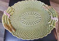 "Bordallo Pinheiro Portugal Majolica Asparagus Basketweave Platter  15 1/2"" MINT"